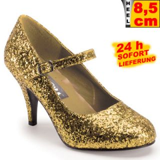 MARY JANE LACK DAMEN RIEMCHEN PUMPS GOLD GLITTER Gr. 41