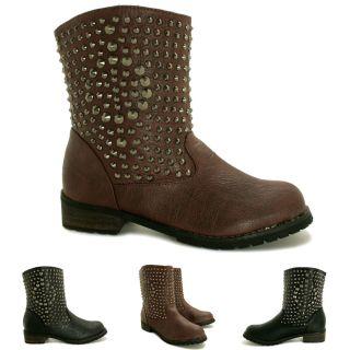 Neu Damen Biker Stiefeletten Ankle Boots Schuhe Flach Gr 36 41