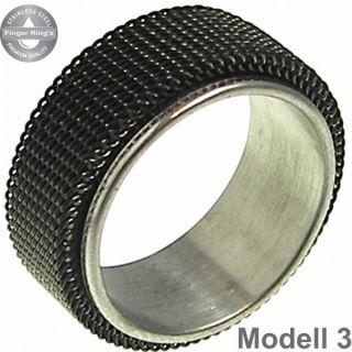 Herren Fingerring Edelstahl Ring mit Netzoverlay Schwarz Silbern