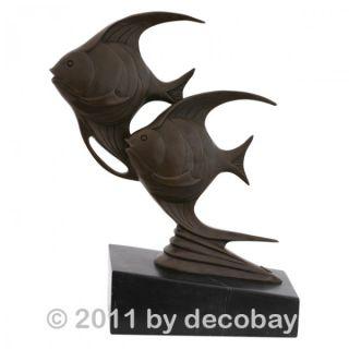 Aquarium Fische Duo Bronze Art Deco moderne Kunst Skulptur Fisch Tiere