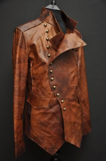 MENS LEATHER STEAMPUNK ROCK MILITARY JACKET UNIQUE TAN