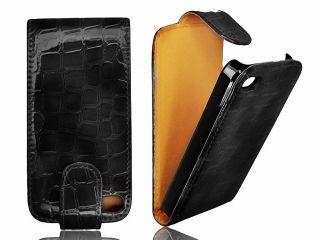 Apple iPhone 4G 4S Flipcase Leder Handy Tasche Hülle Etui Cover Croco