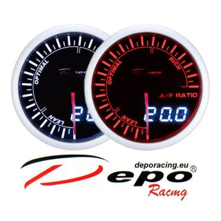 DEPO racing 52 mm Smoked Red and White color Dual View AFR Air Fuel