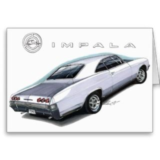 1965 Impala White Car Cards