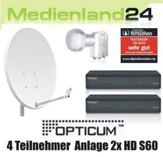 Teilnehmer Sat Anlage Digital 2x Opticum HD S60 HDTV 80cm Spiegel