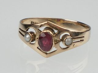 Mädchen,Damen Rot Gold Ring mit Rubin & Saat Perlen gr 58