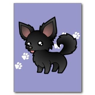 Cartoon Chihuahua (black long coat) postcards by SugarVsSpice