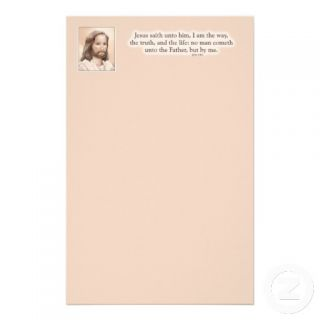 Sepia Jesus Art Bible Quote   John 14:6 Stationery Design