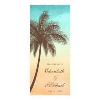 Tropical Beach Palm Tree Wedding Program Customized Rack Card