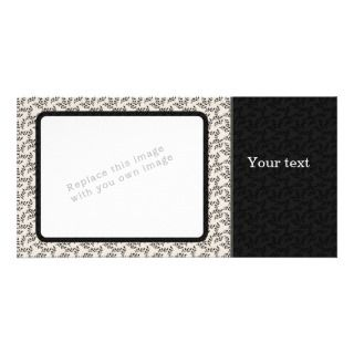 Elegant black and beige floral design picture card