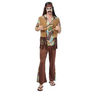 Mens Hippy Hippie Woodstock 70s 60s Flower Power Fancy Dress Costume