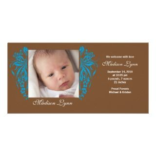 Turquoise Flourish New Baby Birth Annoucement Photo Greeting Card