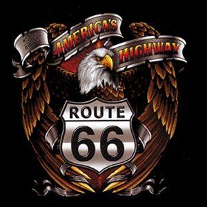00921 American Route 66 Motorrad Biker Motiv T Shirt