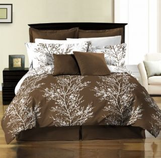 8pcs Reversible Brown White Tree Branches Bed in a Bag Comforter Set