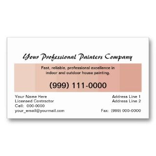 Professional House Painter, Beige Color Card Business Card