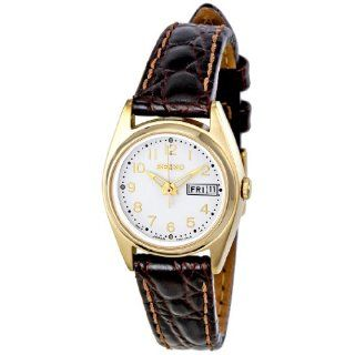 Gold Tone Stainless Steel Dress Quartz Leather Strap Uhren