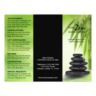 Customizable Brochure For Spa Massage Salon Flyers