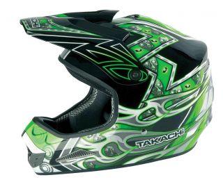 Takachi Motorrad Cross Helm TK76 Dekor Skull grün   XS