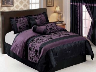7pcs Purple Black Floral Flocking Faux Silk Comforter Set Bed in a bag