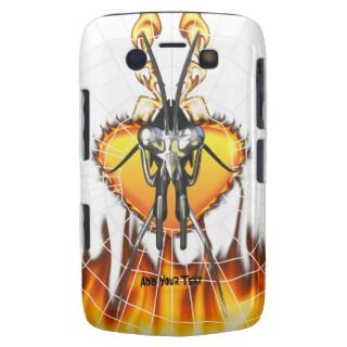Chromed praying mantis design 3 with fire and web. blackberry cases