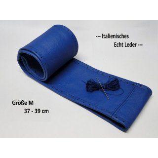 Lenkradbezug Lenkradschoner blau echt Leder 37 39 cm zum selber