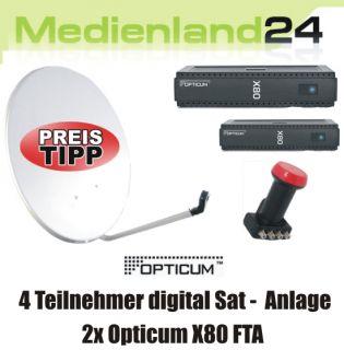 Teilnehmer Sat Anlage digital 2x Opticum X80 FTA Quad LNB 80cm