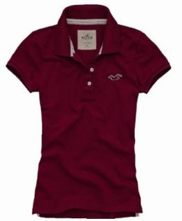 Hollister by Abercrombie Damen Polo Shirt Burgundy/Weinrot   Grösse L
