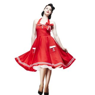 Hell Bunny Damen Kleid 50iger Style mittellang Marinelook rot