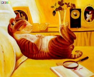 Modern Art   The chilling cat c79870 50x60cm putziges Ölgemälde