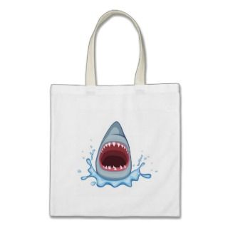 vectorstock_383155 Cartoon Shark Teeth hungry Tote Bags
