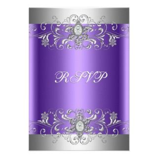 RSVP Birthday Party Purple Silver Diamond Invite