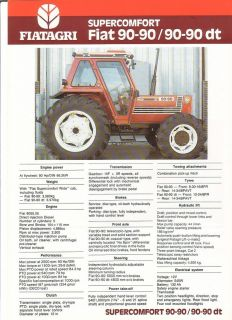 Farm Tractor Brochure Fiatagri Fiat Supercomfort 90 90 dt 1988 FB522