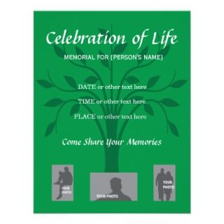 Memorial Celebration of Life   Tree design Announcements