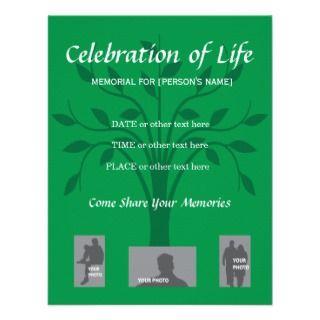 Memorial Celebration of Life   Tree design Announcements