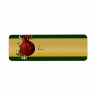 Christmas gift tags ribbons ornament red gold custom return address