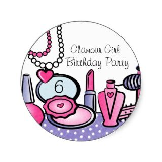 Glamour Girl Birthday (pd) Round Stickers