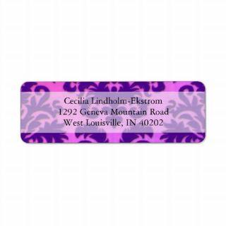 Damask Cut Velvet, Backlit in Purple and Hot Pink Return Address Label