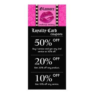 Makeup Artist Marketing Cards Lights Pink Lips Rack Card Design