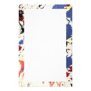 Artists Paint Splatter Background Custom Stationery