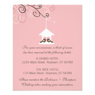 Bird House Wedding Enclosure Card Insert Flyer