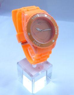 New Rubber Silicone heart shaped Unisex sports jelly gel Wrist quartz