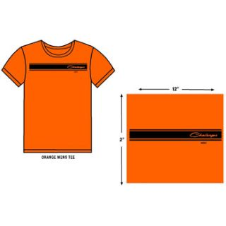 Dodge Challenger Stripe Orange T Shirt L