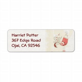 Cute Retro Grunge Bird & Floral Return Address Labels
