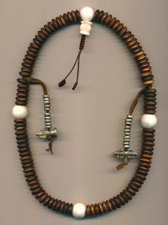 Mala Tibet Stile mit 108 Scheiben (12 mm) aus Yak Knochen Dorje 52c