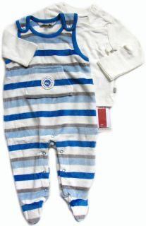 KANZ Set Strampler und Shirt Nicki Streifen blau Gr. 50   68 H/W 12/13