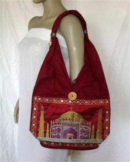 Umhängetasche Beutel Tasche Taj Mahal bordeaux rot Indien 02