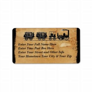 Version1 Vintage Train Theme Address Label