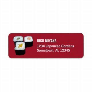 Sushi  Maki Rolls on Red Return Address Labels