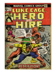 Marvel Comics Retro Luke Cage, Hero for Hire Comic Book Cover #14, Fighting Big Ben (aged) Prints