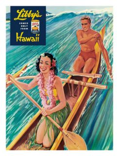 Surfing on Outrigger Canoe, Libbys Pineapple Hawaii, c.1957 Giclee Print by Laffety